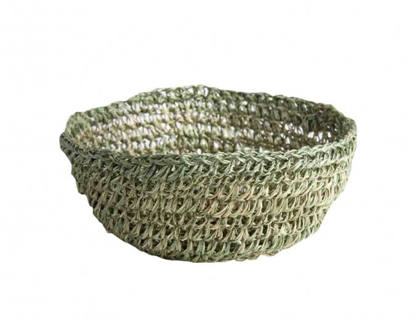 GREEN ABACA CROCHET BOWL D. 12 H 5 CM